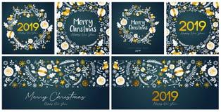 Reeks van Vrolijke Kerstmis en Gelukkig Nieuwjaarskaartmalplaatje royalty-vrije illustratie