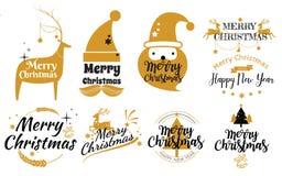 Reeks van Vrolijke Kerstmis en Gelukkige Nieuwjaarzegel, Geplaatste sticker qu vector illustratie