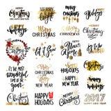 Reeks van Vrolijke Kerstmisteksten, hand het getrokken van letters voorzien en het Gelukkige ontwerp van de Nieuwjaartypografie Stock Afbeeldingen