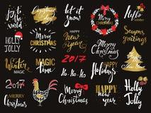 Reeks van Vrolijke Kerstmisteksten, hand het getrokken van letters voorzien en het Gelukkige ontwerp van de Nieuwjaartypografie V Royalty-vrije Stock Fotografie