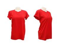 Reeks van vrouwelijk t-shirtmalplaatje op de ledenpop op wit Stock Foto