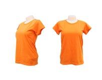 Reeks van vrouwelijk t-shirtmalplaatje op de ledenpop op wit Royalty-vrije Stock Fotografie
