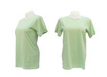 Reeks van vrouwelijk t-shirtmalplaatje op de ledenpop op wit Royalty-vrije Stock Afbeelding