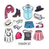 Reeks van vrouwelijke kleding Stock Foto's