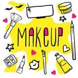 Reeks van vrouwelijke schoonheidsmiddelenkrabbel makeup stock illustratie