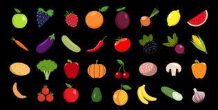 Reeks van vruchten en groenten Vectorpictogram vector illustratie
