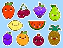Reeks van vruchten kawaii van het smileygezicht vector illustratie