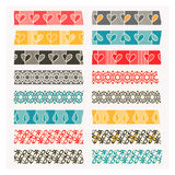 Reeks van washiband Zwarte, grijze en kleurenstrepen Royalty-vrije Stock Foto