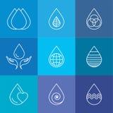 Reeks van waterdalingen & aardvector - abstracte embleemmalplaatjes & l Stock Foto