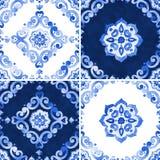 Reeks van waterverf blauw patroon Stock Foto