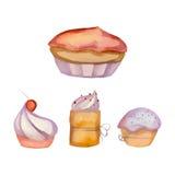Reeks van waterverf cupcakes Stock Afbeeldingen