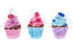 Reeks van waterverf cupcakes Hand op geweven document wordt getrokken dat Retro stijl royalty-vrije illustratie