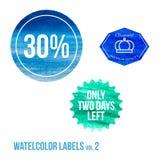 Reeks van waterverf het winkelen pictogram in eps vector Stock Foto's