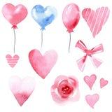 Reeks van waterverfballon, lint, boog, hart, bloem Stock Afbeeldingen