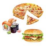 Reeks van waterverffast-food met Hamburger, Sushi, Pizzastukken Royalty-vrije Illustratie