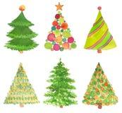 Reeks van waterverfhand geschilderde Kerstboom Stock Foto
