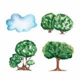 Reeks van waterverfhand getrokken verschillende bomen en wolk stock illustratie
