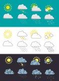 Reeks van 8 weerpictogrammen Stock Foto