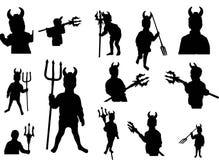 Reeks van weinig duivel met drietand (silhouet) Royalty-vrije Stock Foto's