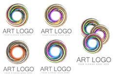 Reeks van Werveling Art Logo Designs Royalty-vrije Stock Foto