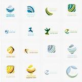 Reeks van werveling, golflijnen, de pictogrammen van het cirkelembleem Royalty-vrije Stock Afbeelding