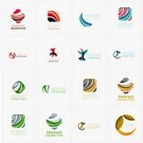 Reeks van werveling, golflijnen, de pictogrammen van het cirkelembleem Royalty-vrije Stock Afbeeldingen