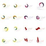 Reeks van werveling, golflijnen, de pictogrammen van het cirkelembleem Royalty-vrije Stock Fotografie