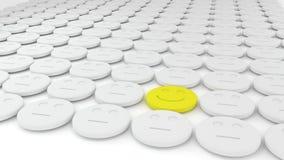 Reeks van witte pillen en één geel Royalty-vrije Stock Afbeelding