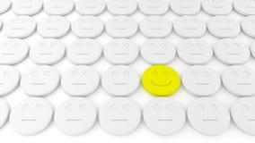 Reeks van witte pillen en één geel Royalty-vrije Stock Foto's