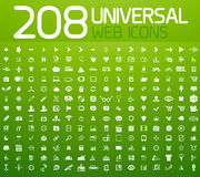 Reeks van 208 vector universele pictogrammen Royalty-vrije Stock Foto's