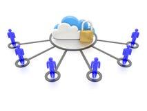 Reeks van wolken en een hangslot, veilige gegevensopslag Stock Afbeelding