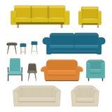 Reeks van woonkamermeubilair Bank, leunstoel en stoel Royalty-vrije Stock Fotografie