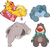 Reeks van zacht speelgoedbeeldverhaal royalty-vrije illustratie