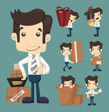 Reeks van zakenman bewegend bureau en verpakking in dozenkarakters Stock Foto