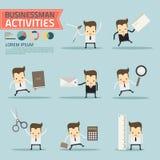 Reeks van zakenman met stationair stock illustratie