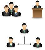 Reeks van zakenman proefpictogram in groepsactiviteit Stock Afbeeldingen