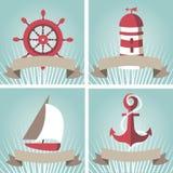 Reeks van zeegezicht met zeevaartelementen Stock Fotografie