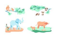 Reeks van zeldzaam en bedreigd dier stock illustratie