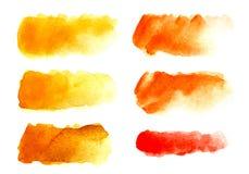 Reeks van zes Abstracte krantekopachtergrond Een vormeloze langwerpige vlek van gele, rode, oranje kleur royalty-vrije stock afbeeldingen