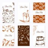 Reeks van zes adreskaartjes Bierbedrijf Restaurantthema Vector illustratie Stock Foto