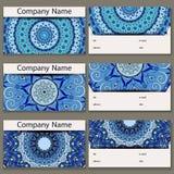 Reeks van zes adreskaartjes Uitstekend patroon in retro stijl met mandala Stock Foto