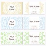 Reeks van zes adreskaartjes Uitstekend patroon in retro stijl met mandala Hand getrokken Islam, Arabisch, Indiër, kantpatroon Stock Afbeeldingen
