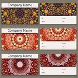 Reeks van zes adreskaartjes Uitstekend patroon in retro stijl met mandala Hand getrokken Islam, Arabisch, Indiër, kantpatroon Stock Afbeelding