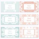 Reeks van zes adreskaartjes Uitstekend patroon in retro stijl met ornament Royalty-vrije Stock Fotografie