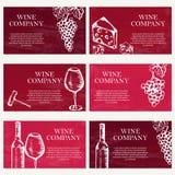 Reeks van zes adreskaartjes Wijnbedrijf Restaurantthema Vecto Stock Fotografie