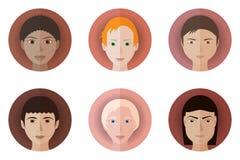 Reeks van zes avatars van tieners van verschillende rassen en nationaliteiten Royalty-vrije Stock Afbeeldingen