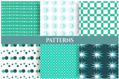 Reeks van zes blauwe, witte, naadloze patronen Royalty-vrije Stock Fotografie