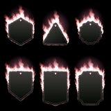 Reeks van zes die kaders met roze vlam worden omringd Stock Afbeeldingen
