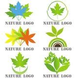 Reeks van zes emblemen voor aard verwante bedrijven Stock Afbeelding