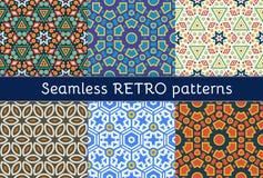Reeks van zes etnische naadloze patronen Royalty-vrije Stock Afbeeldingen